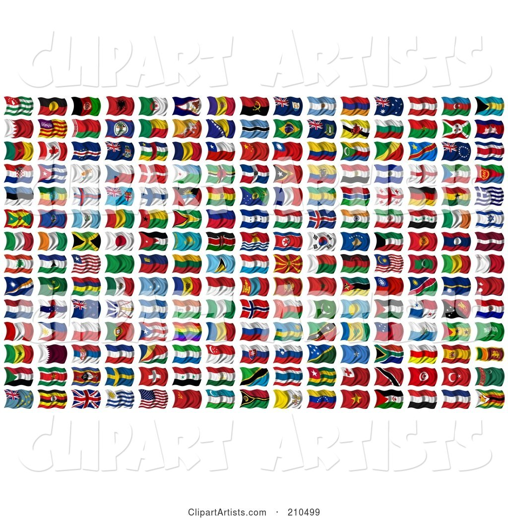 Digital Collage of 210 Wavy International Flags of the World
