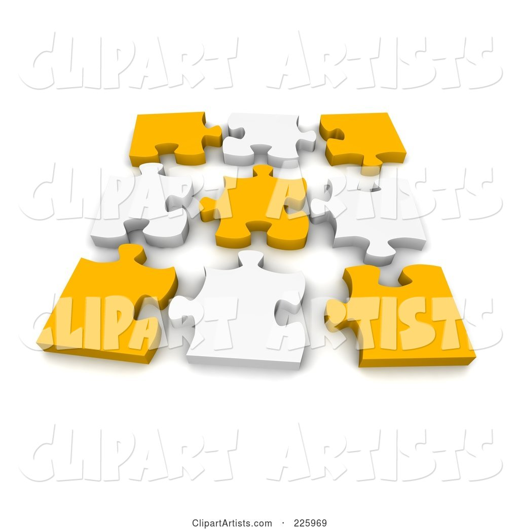 Disconnected Puzzle of Yellow and White Pieces
