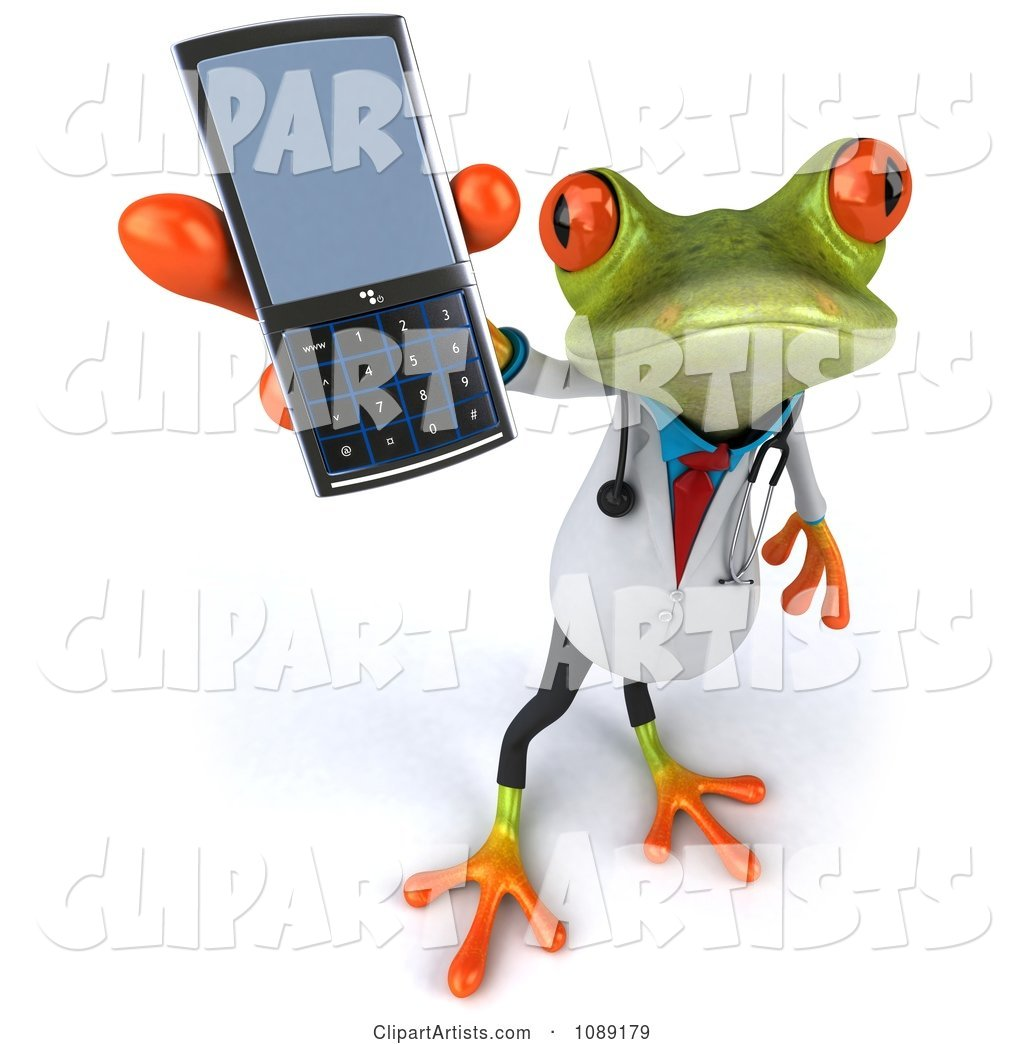 Doctor Springer Frog Holding a Cell Phone 1