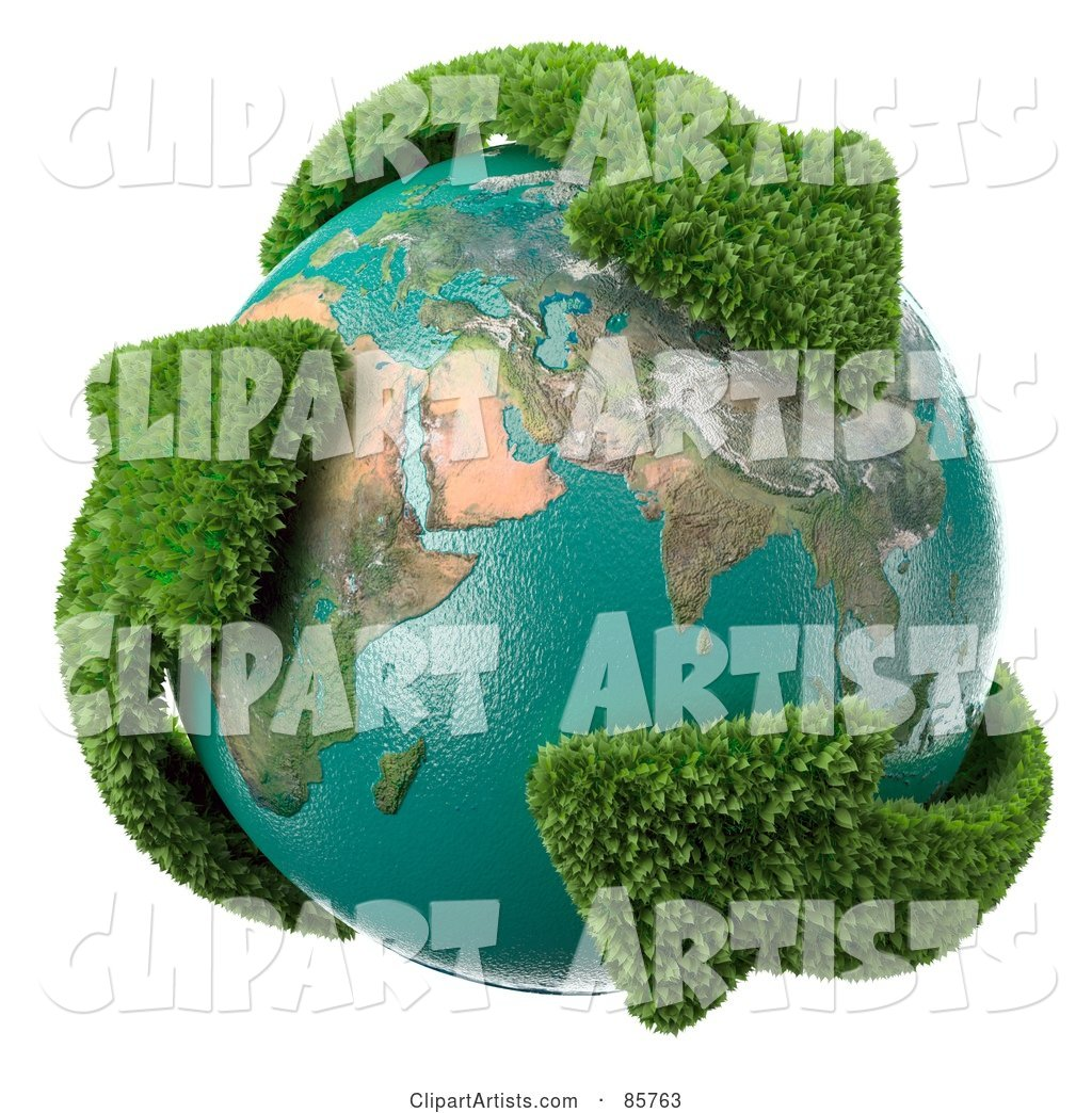 Earth Engulfed in Leafy Recycle Arrows