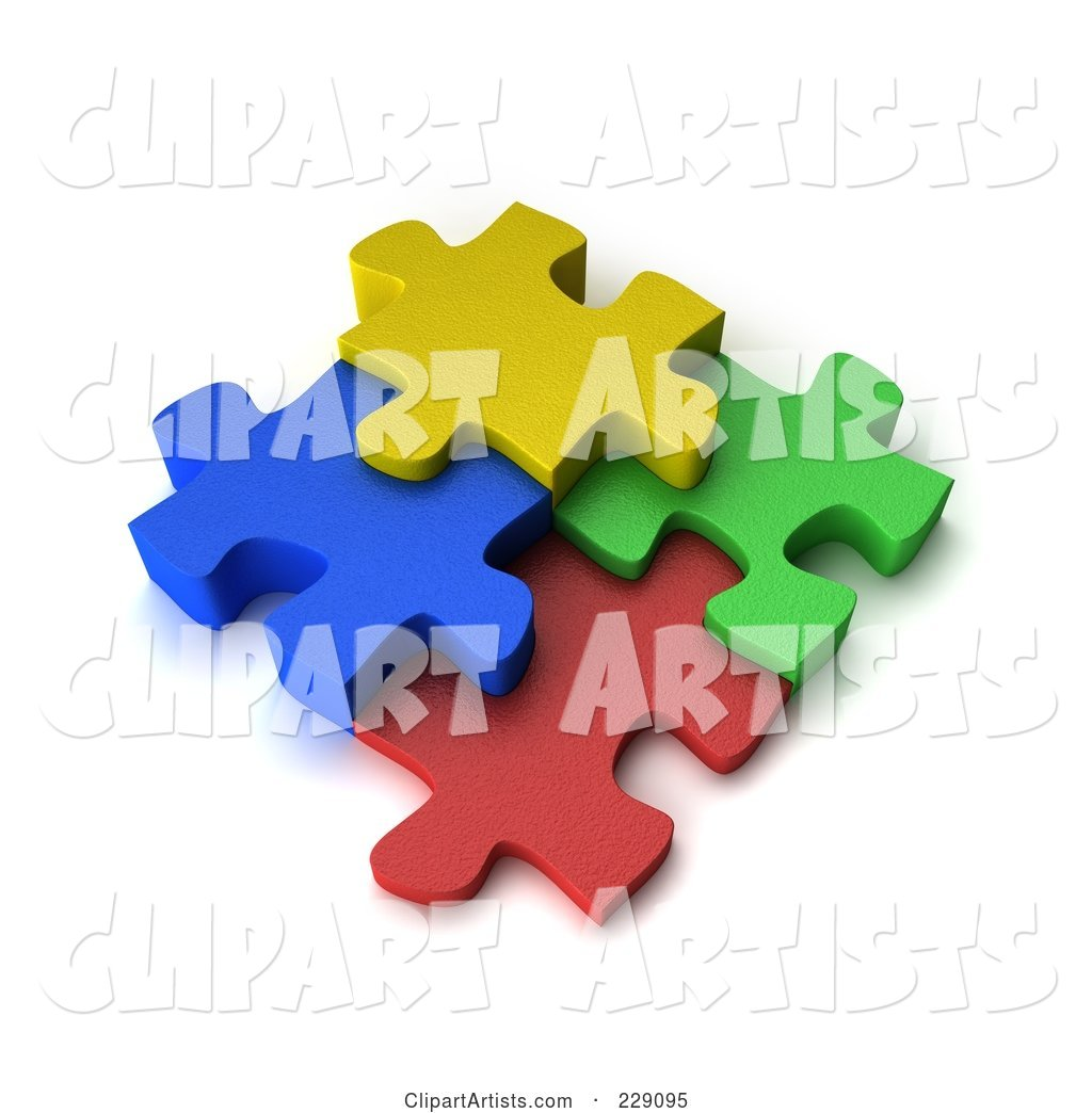 Four Colorful Puzzle Pieces Connected