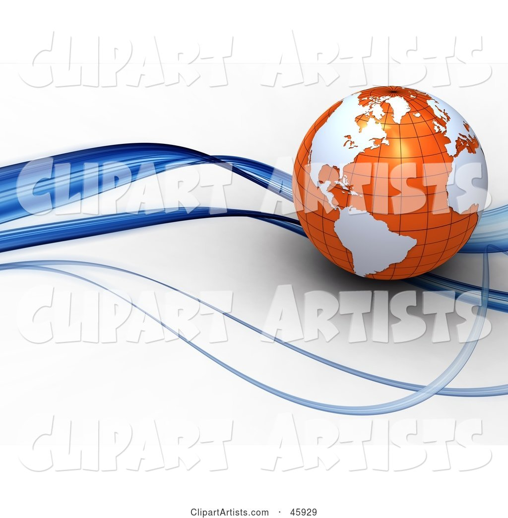 Globe with Orange Oceans and White Continents, Riding on a Blue Wave