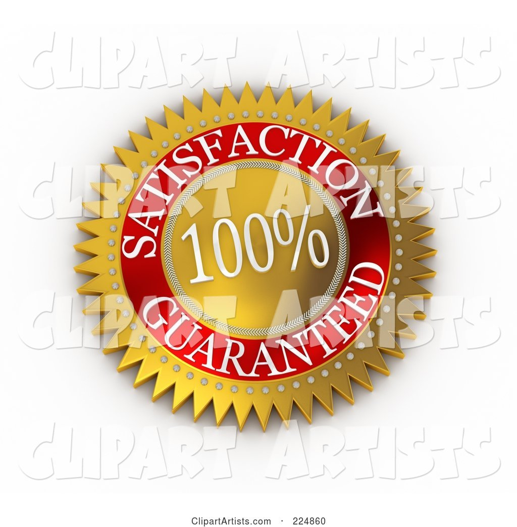 Gold and Red 100 Percent Satisfaction Guaranteed Seal