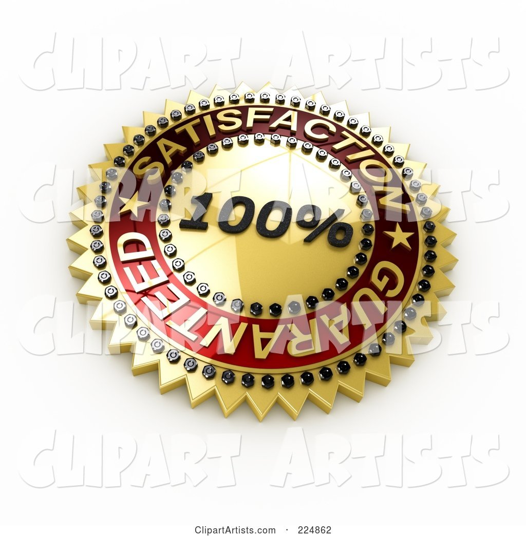 Golden and Red 100 Percent Satisfaction Guaranteed Seal