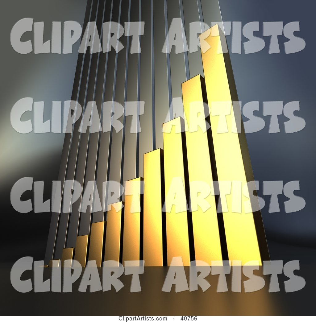 Golden Bar Graph Climbing Upwards, Symbolizing Goals and Success