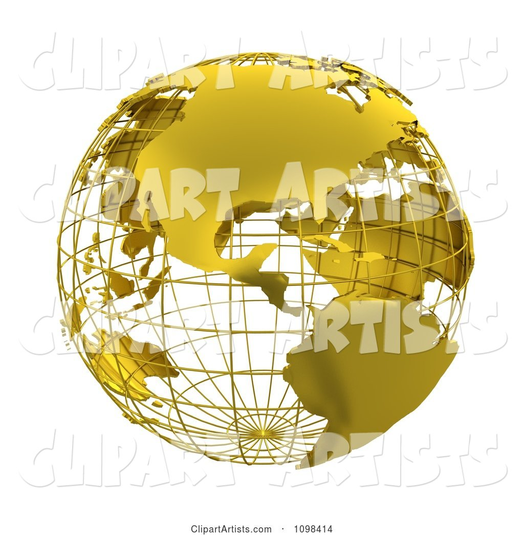 Golden Wire Grid Globe Featuring the Americas