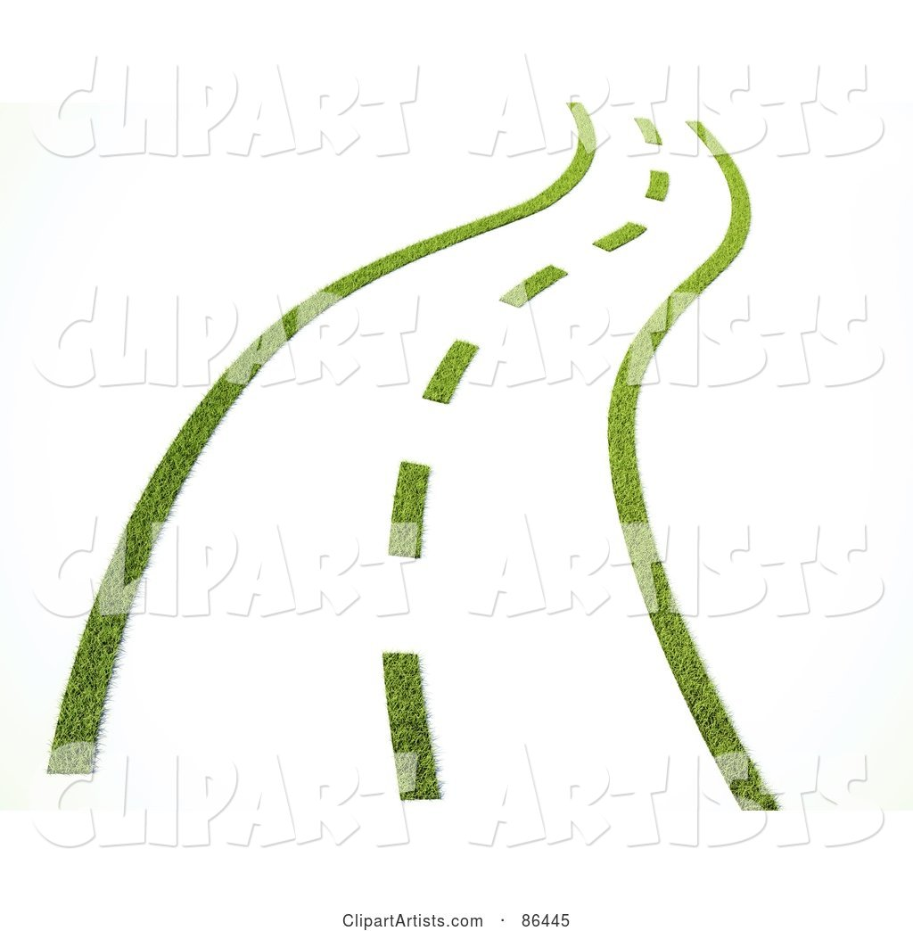Grassy Road with Dotted Lines