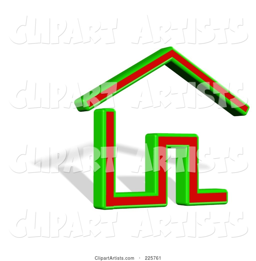 Green and Red House Logo with a Shadow