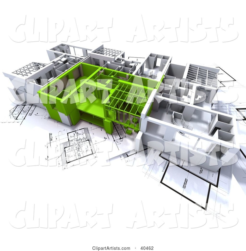 Green and White Home Floor Plans on Blueprints