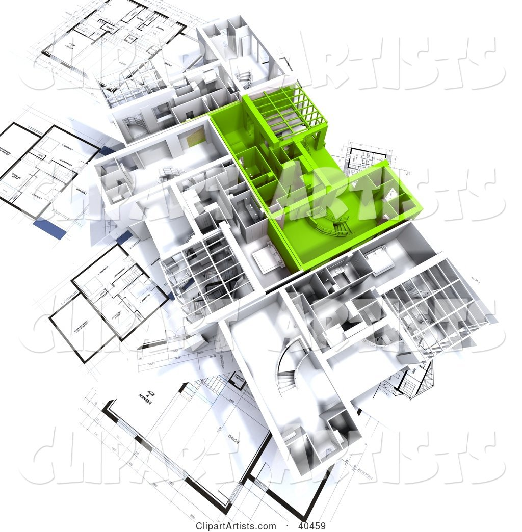 Green and White House Floor Plans on Blueprints