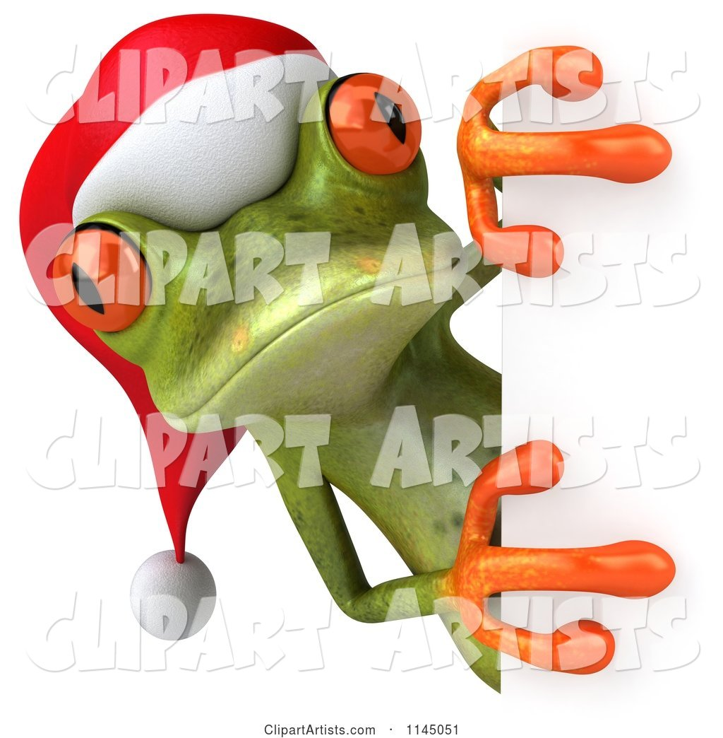 Green Christmas Frog Wearing a Santa Hat and Looking Around a Sign