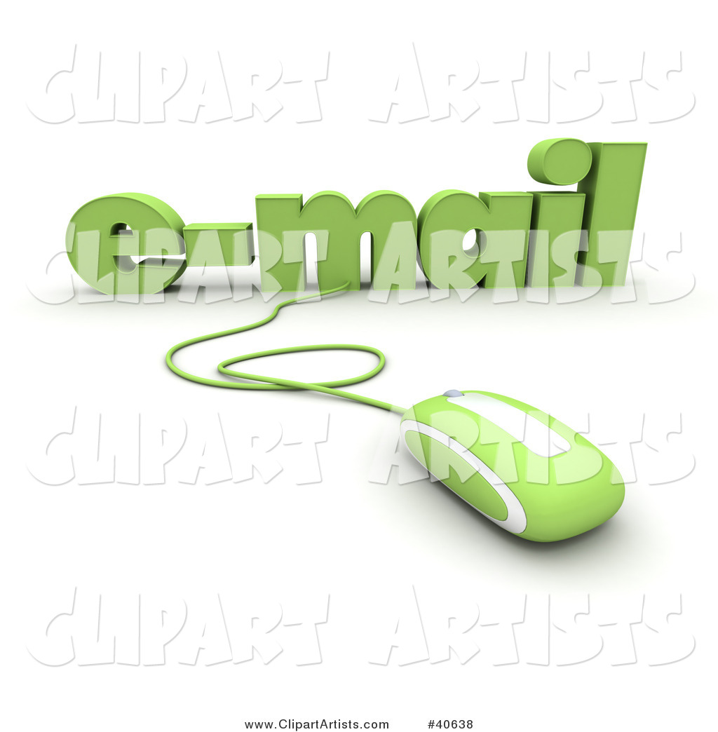 Green Computer Mouse Connected to Email Text