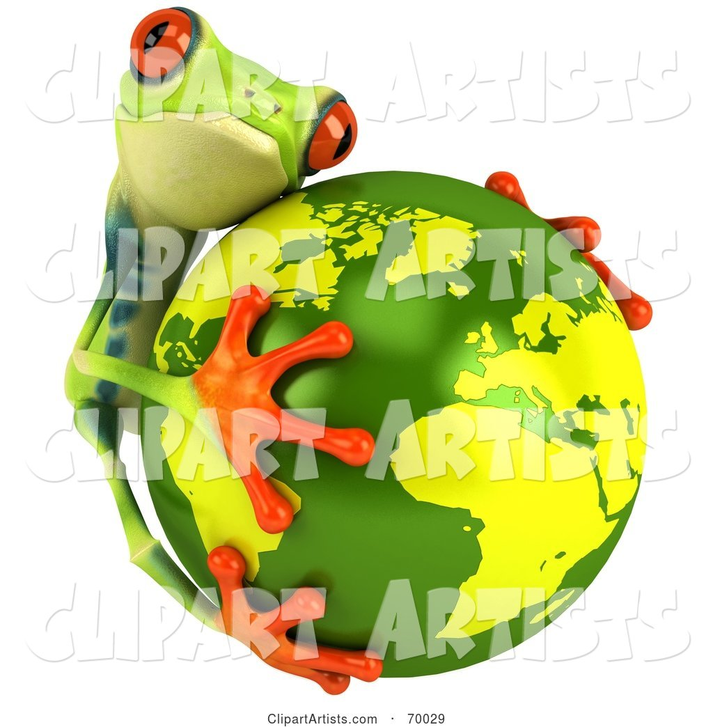 Green Poison Dart Frog Hugging the Earth