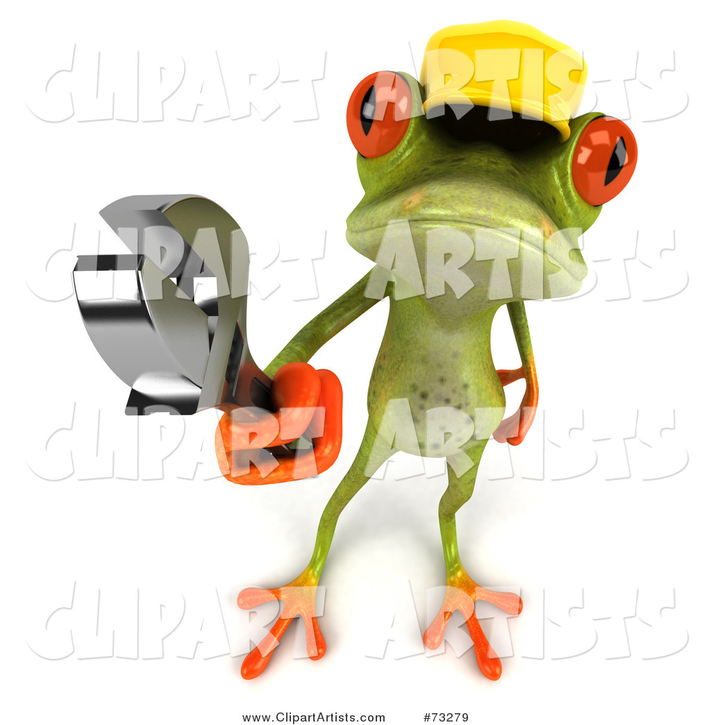 Green Tree Frog Contractor Wearing a Hard Hat and Holding a Wrench - Version 3