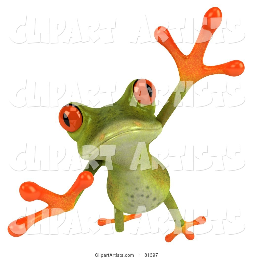 Green Tree Frog Taking a Big Leap Forward