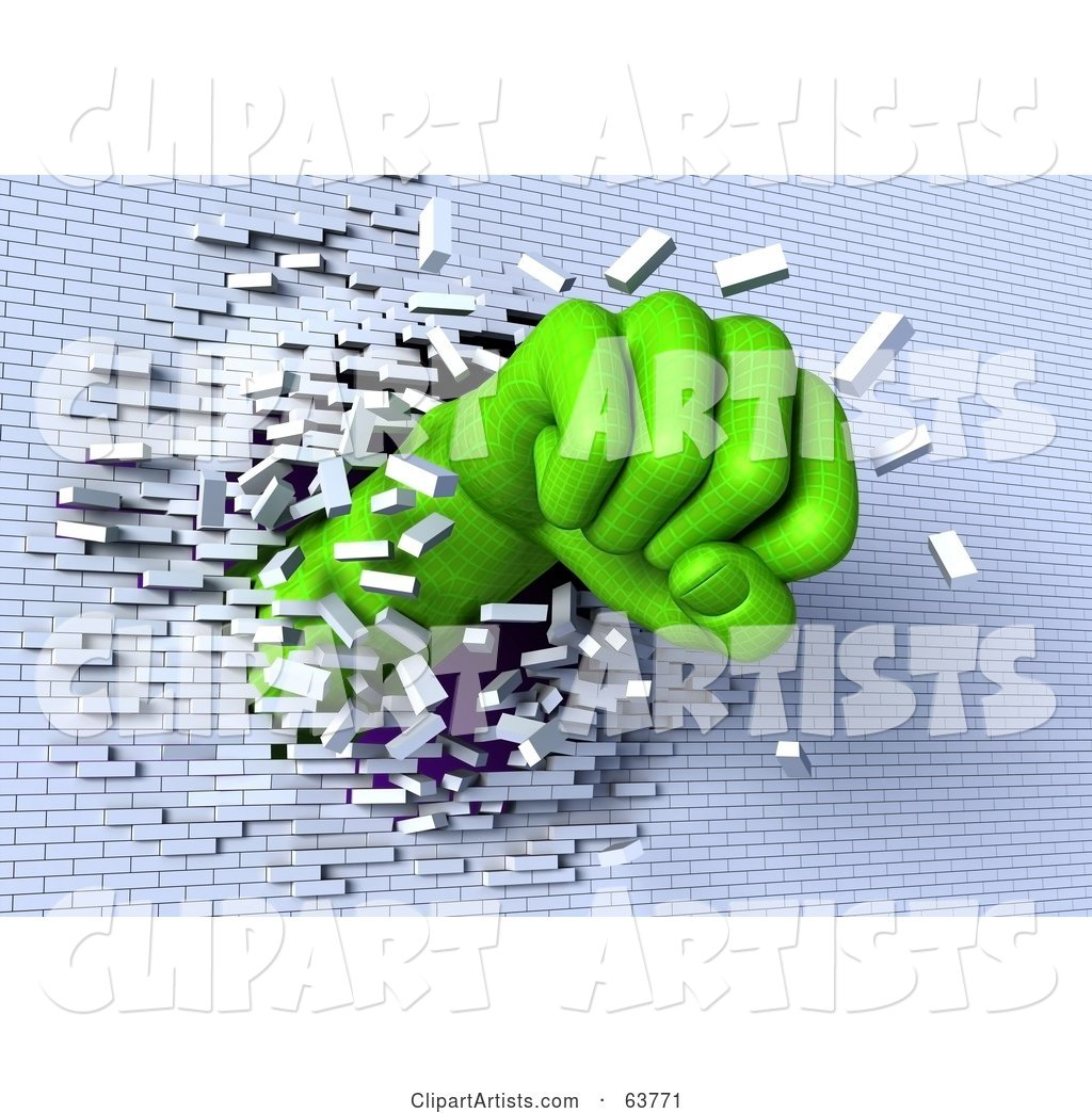 Green Wire Frame Fist Breaking Through a White Brick Wall
