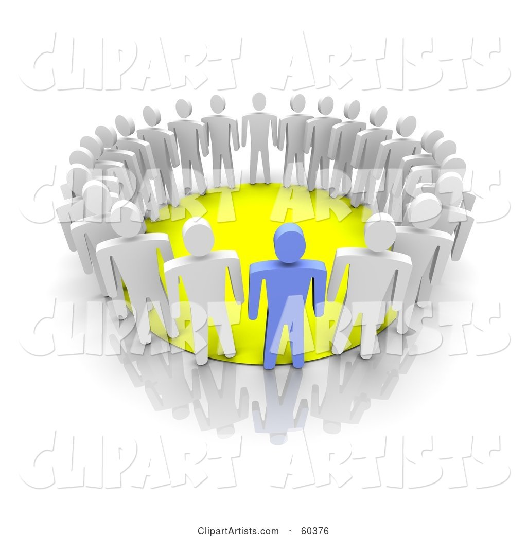 Group of Blue and White Men Standing Around a Yellow Circle