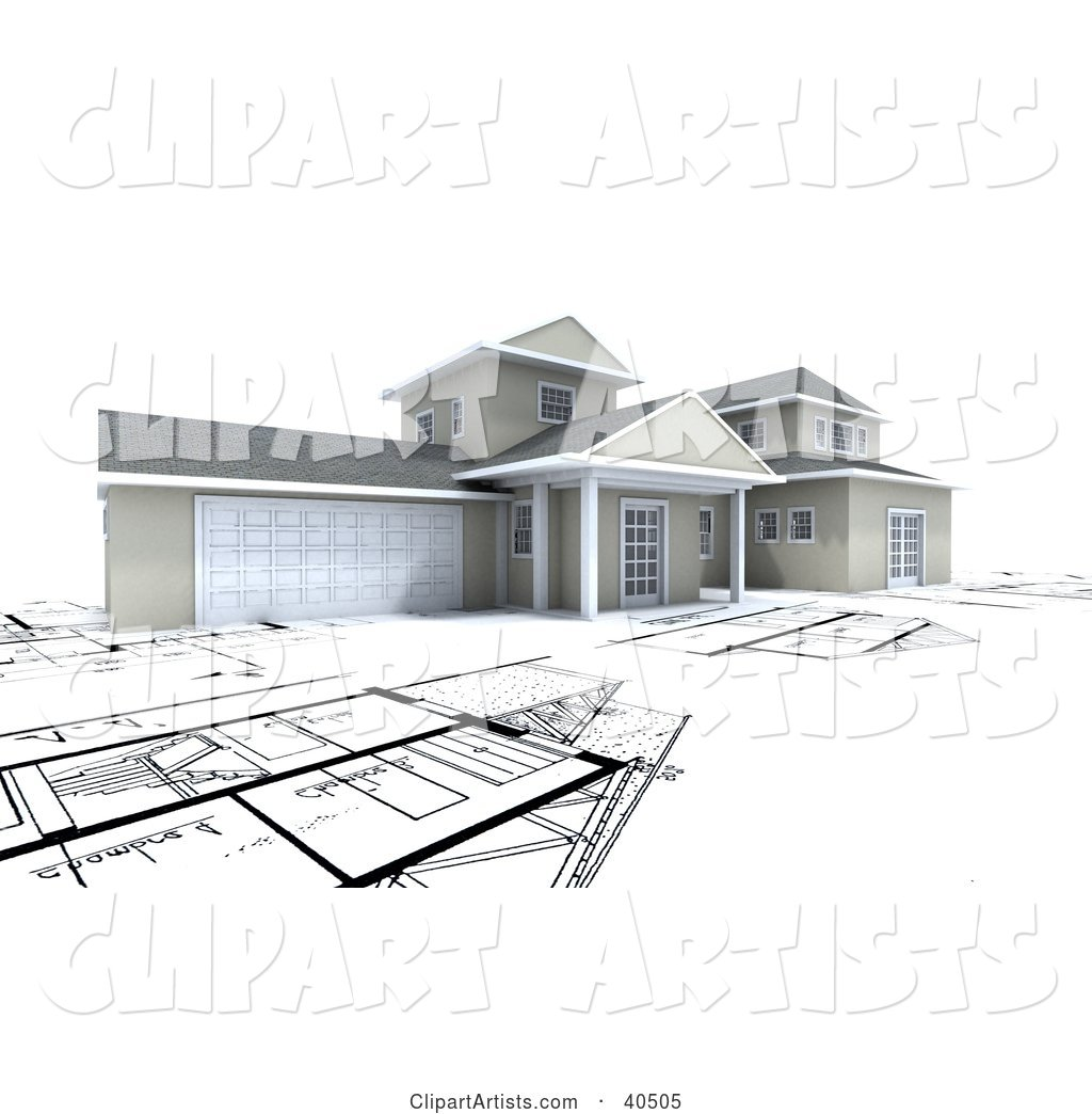 House with a Garage, on Top of Blueprints