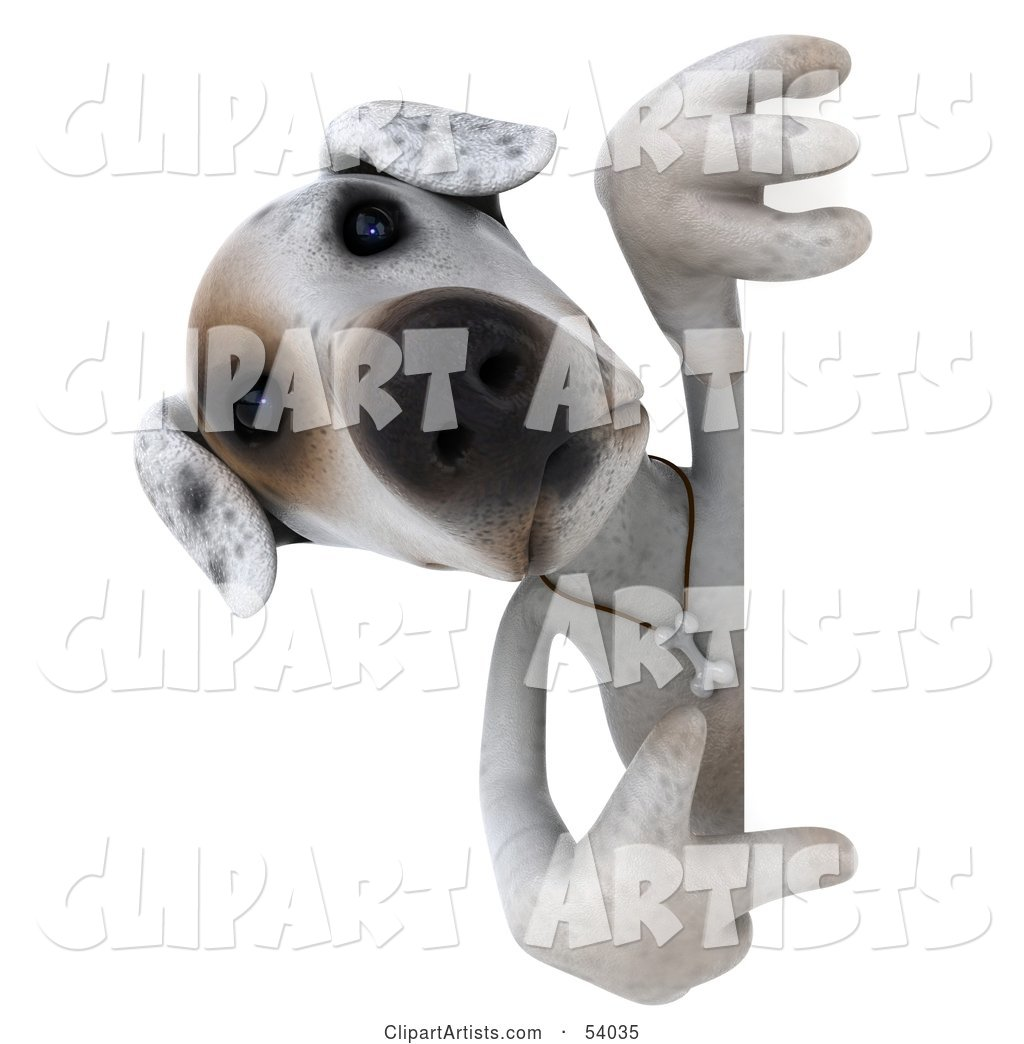 Jack Russell Terrier Pooch Character Pointing and Looking Around a Sign