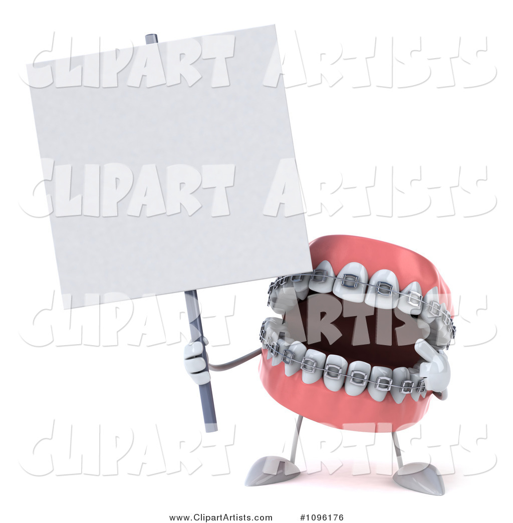 Metal Mouth Teeth Character with Braces and a Sign 7