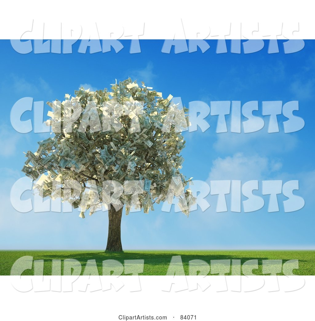 Money Tree Abundant with Cash in a Sunny Landscape