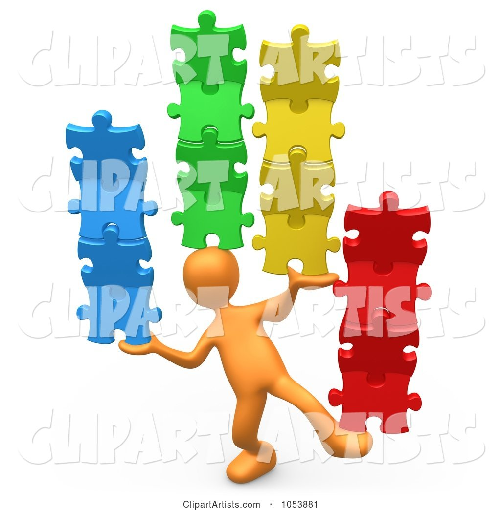 Orange Person Balancing Puzzle Pieces