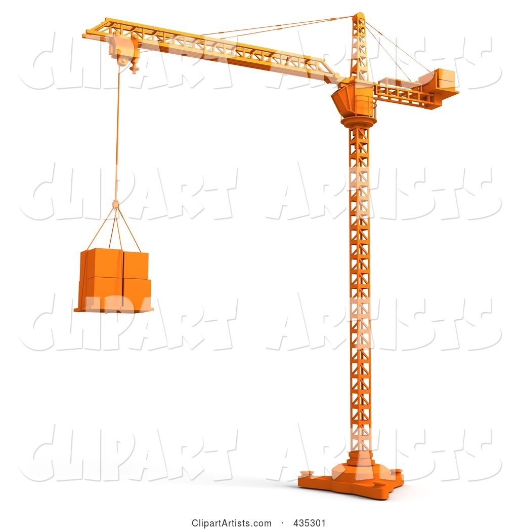Orange Tower Crane Lifting Boxes