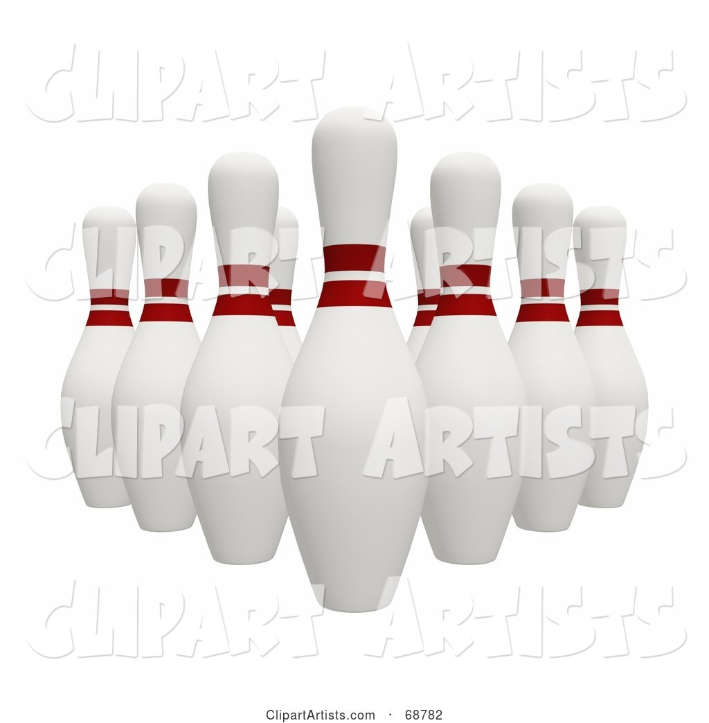 Organized Bowling Pins on White