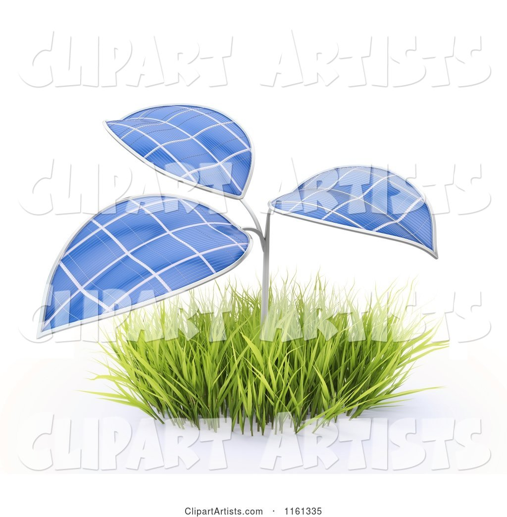 Plant with Photovoltaic Solar Panel Leaves
