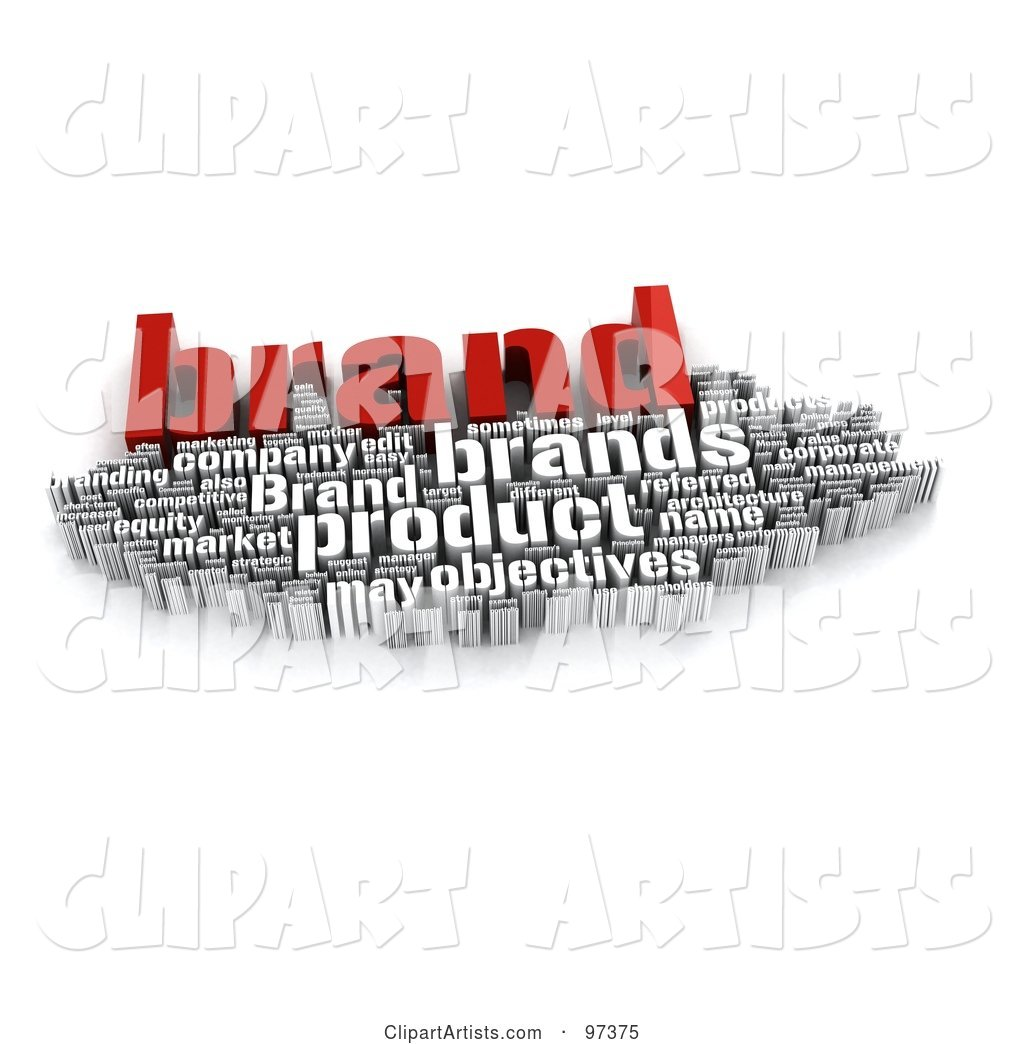 Red and White Branding Word Collage