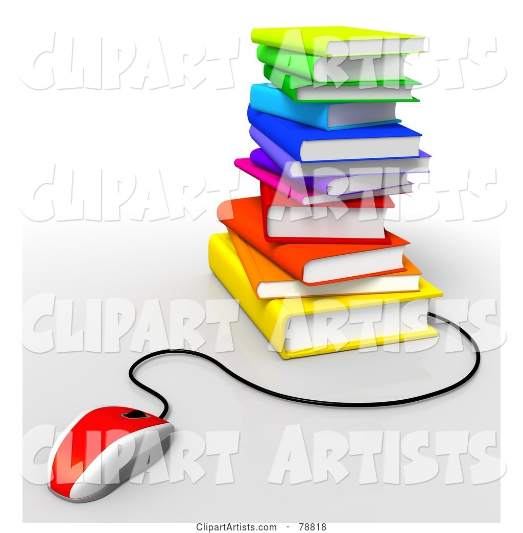 Red Computer Mouse Connected to a Stack of Colorful Text Books