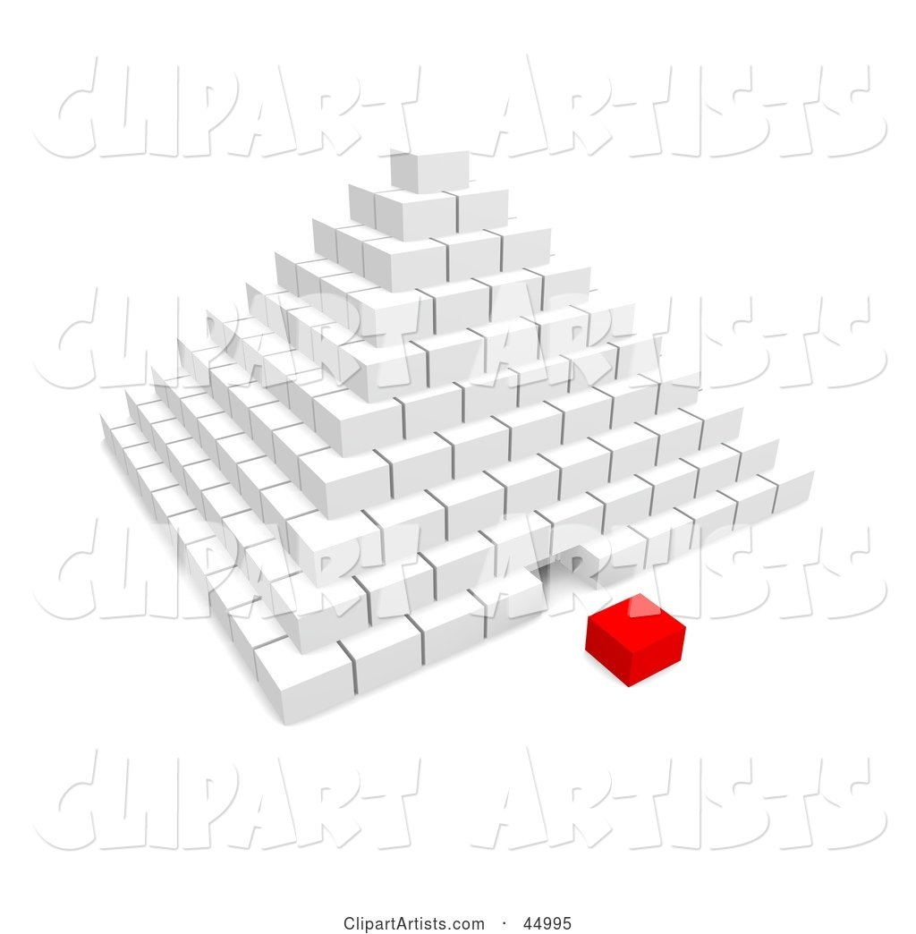 Red Cube Piece Separated from a White Pyramid