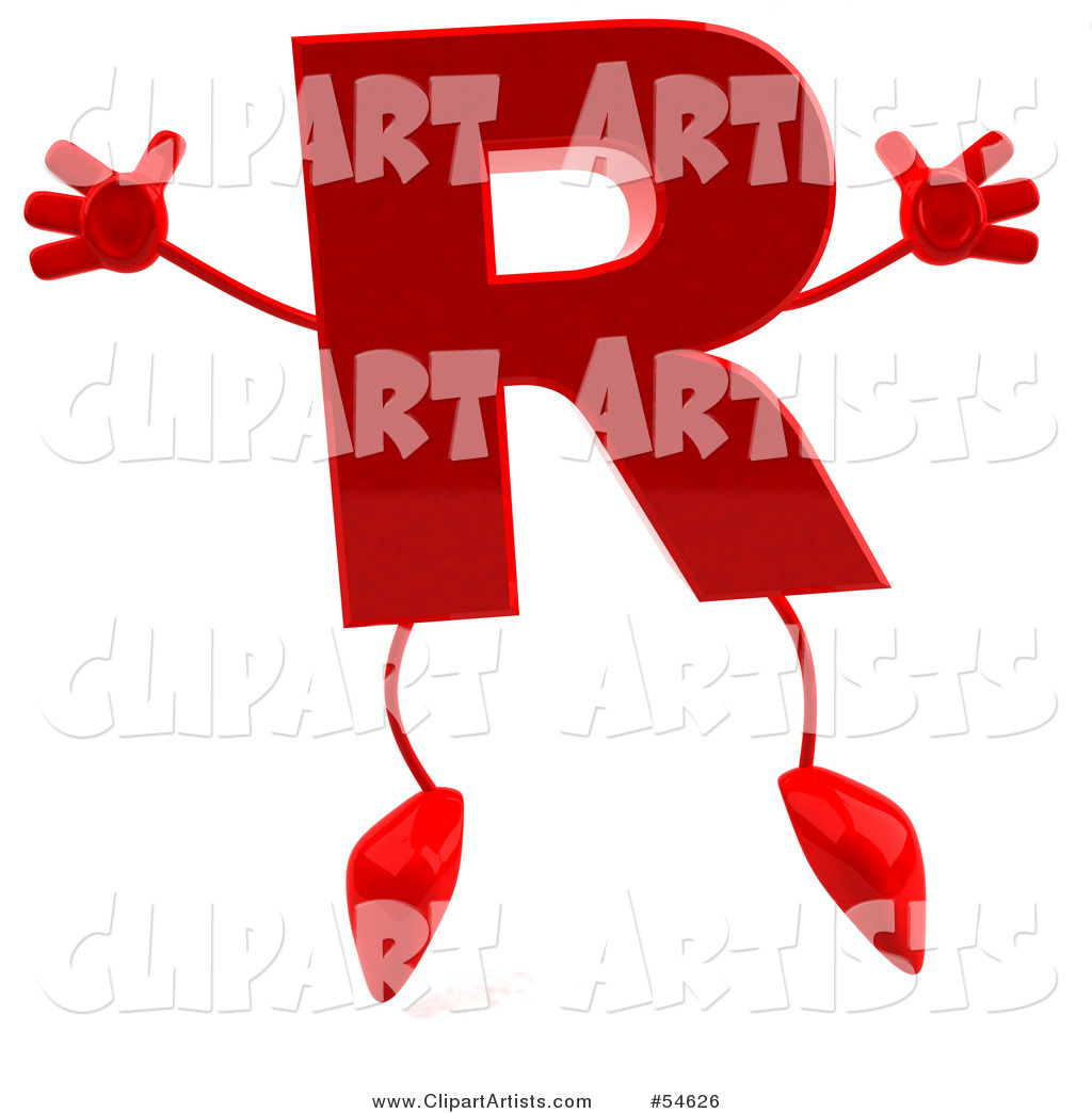 Red Letter R with Arms and Legs
