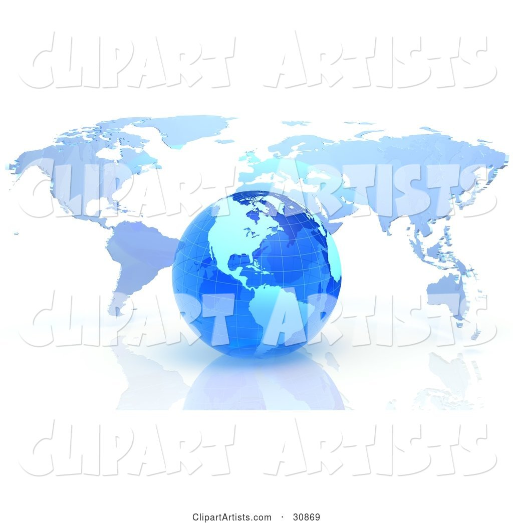 Rendered Blue Grid Globe in Front of a Flat Atlas Map