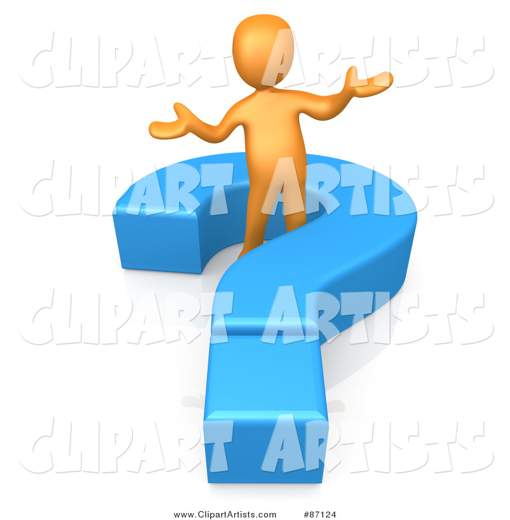 Rendered Orange Man Shrugging and Standing in a Blue Question Mark