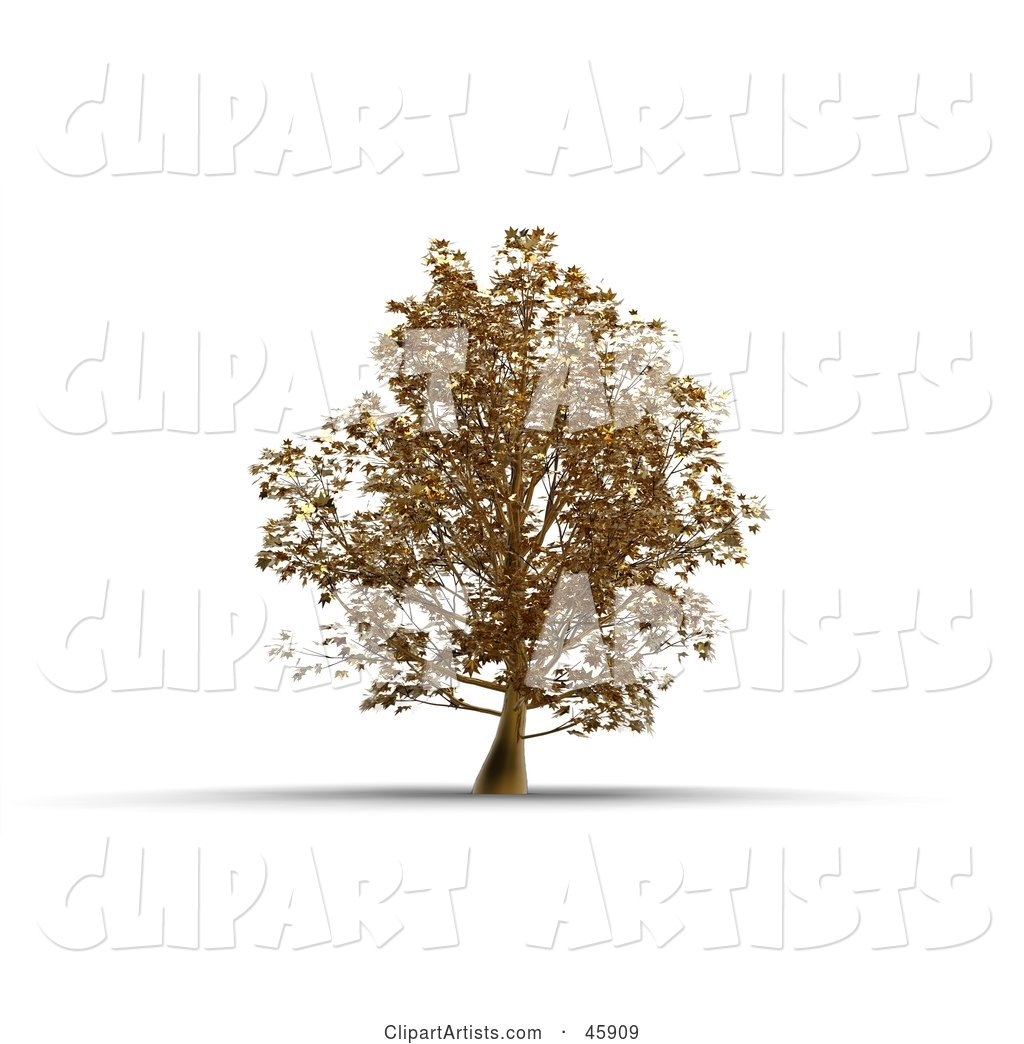 Rendered Tree of Gold, Symbolizing Wealth