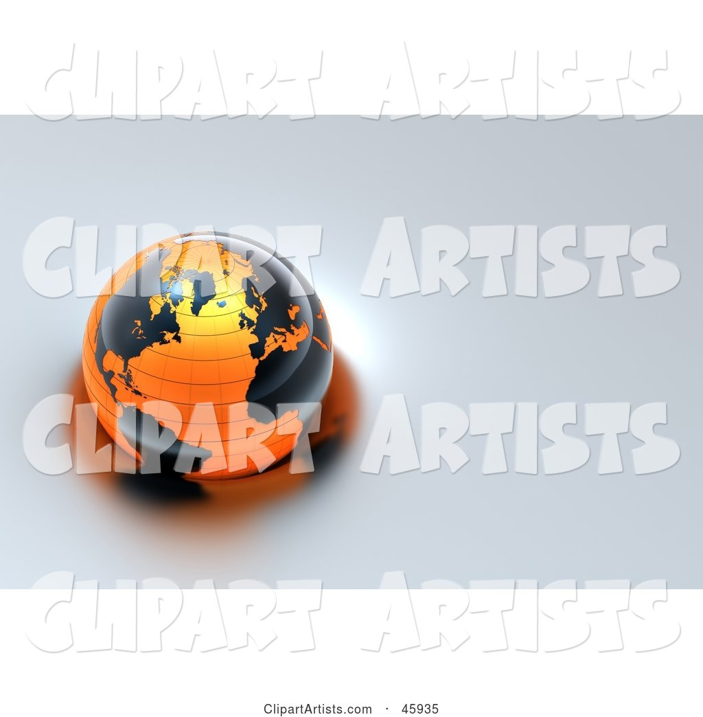 Shiny Globe with Black Continents and Orange Oceans, Floating on Gray Water