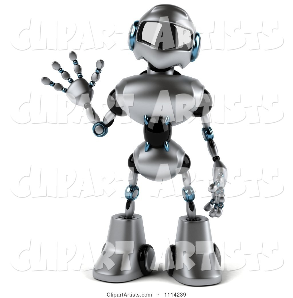 Silver Male Techno Robot Waving
