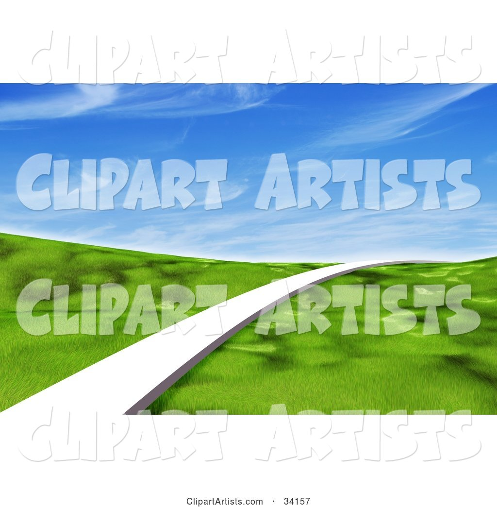 Single White Path Leading Forward Across a Grassy Green Landscape Under a Blue Sky with Wispy Clouds