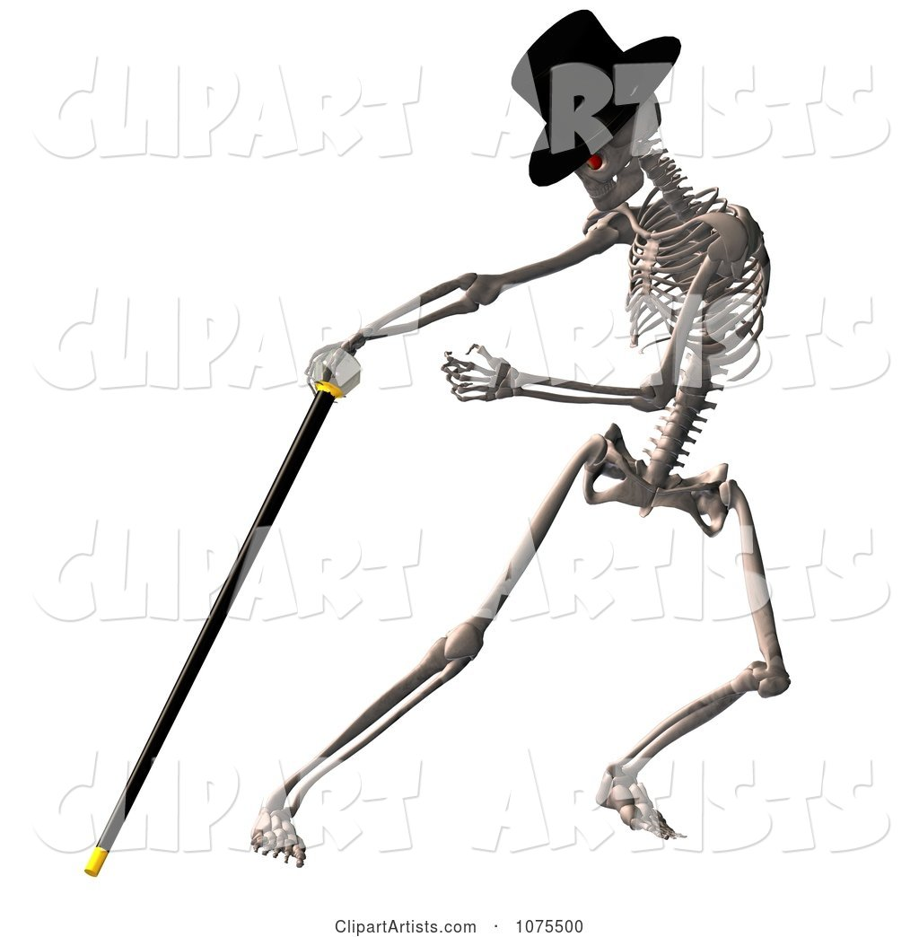 Skeleton Wearing a Top Hat and Dancing with a Cane 1