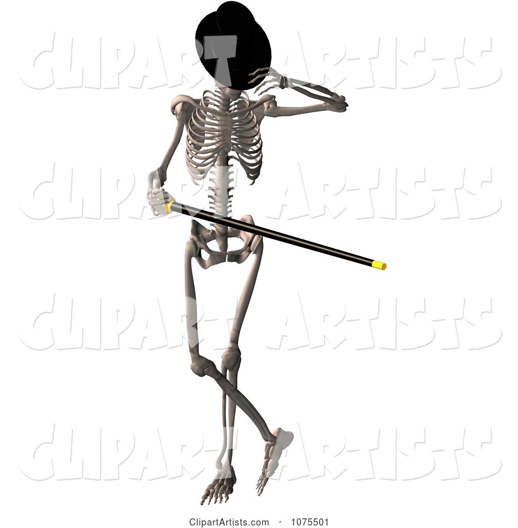 Skeleton Wearing a Top Hat and Dancing with a Cane 2