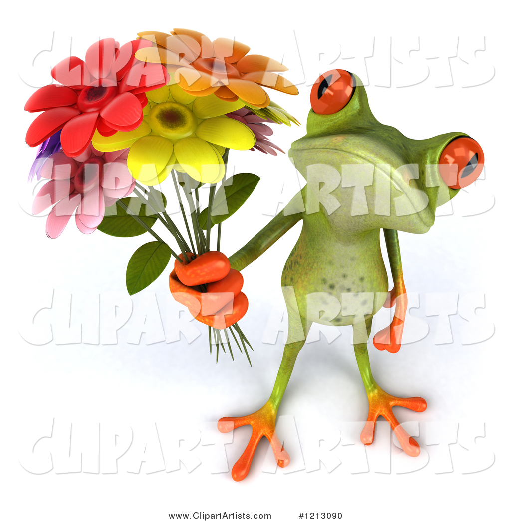 Springer Frog Holding a Bouquet of Flowers