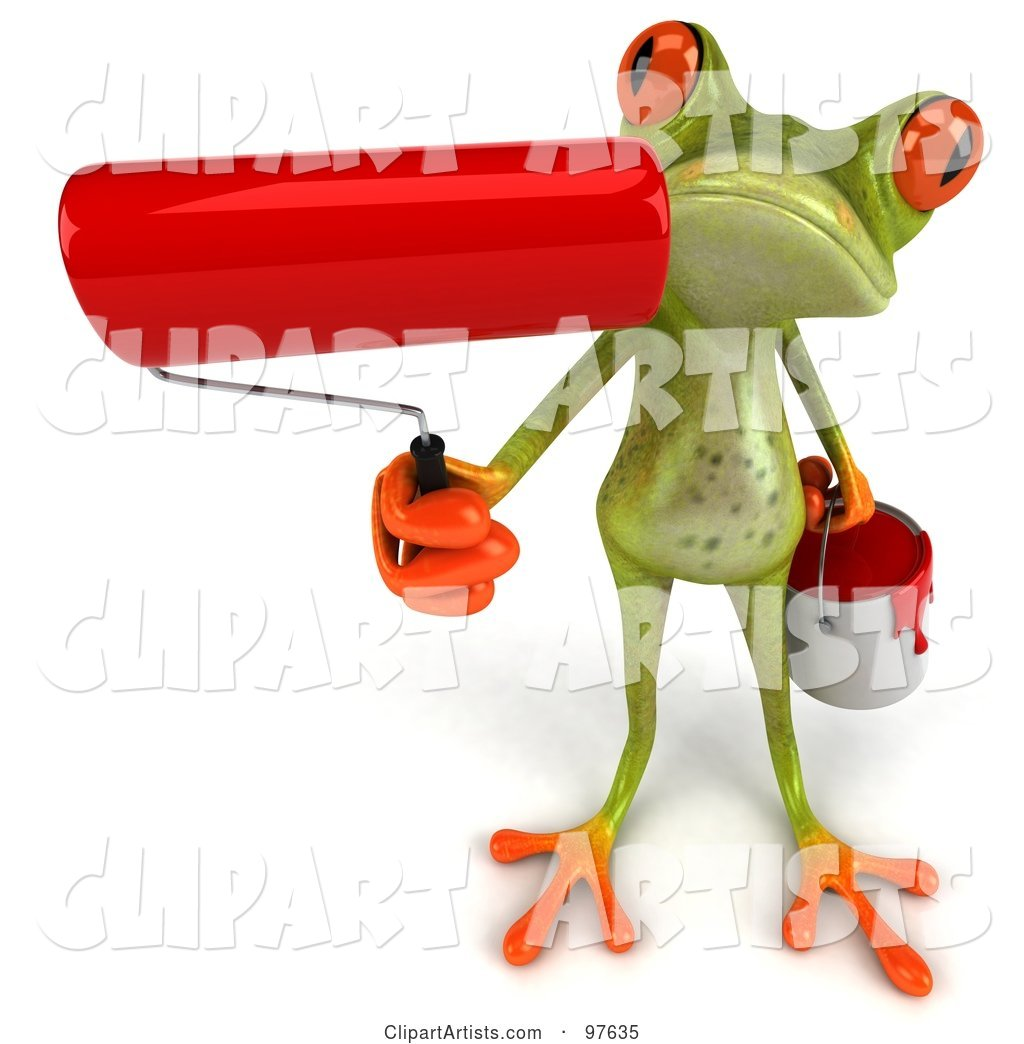 Springer Frog Holding up a Red Paint Roller