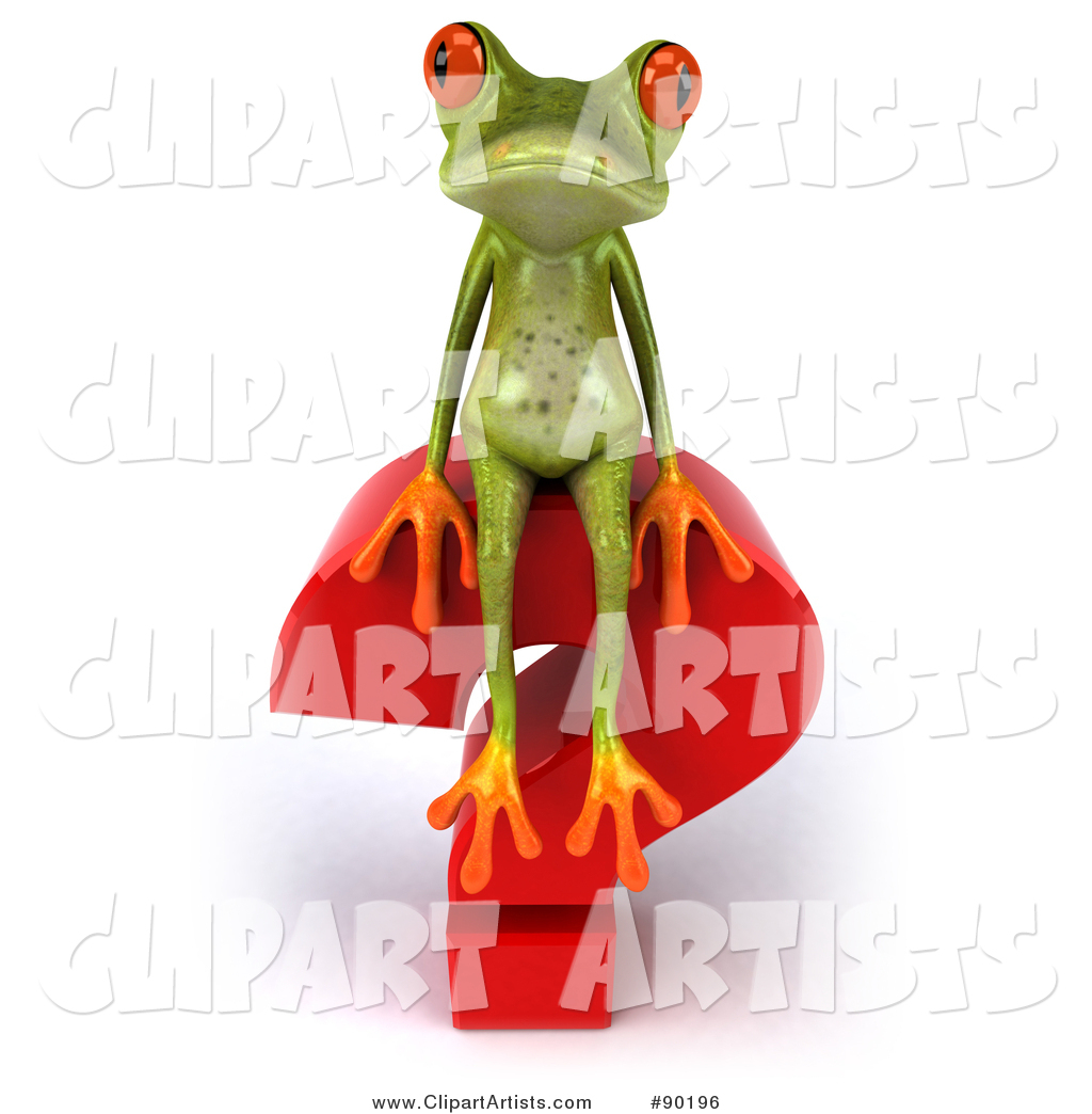 Springer Frog Sitting on Top of a Question Mark - 2