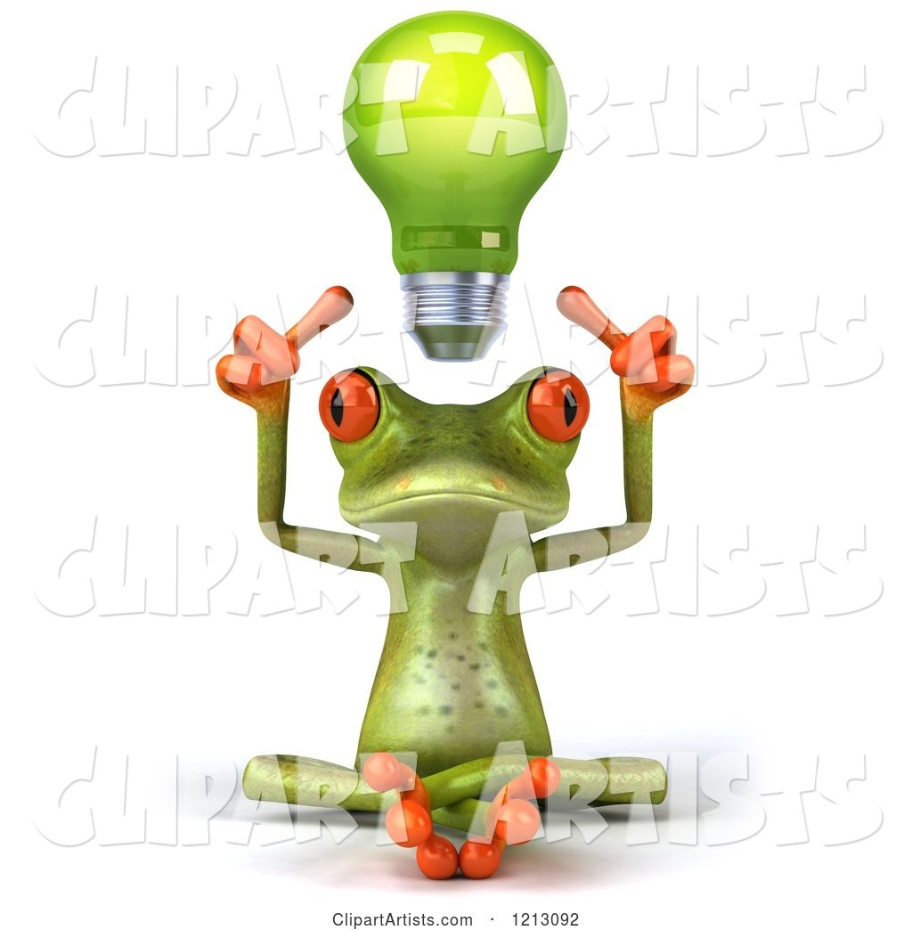 Springer Frog Sitting with a Light Bulb Above His Head
