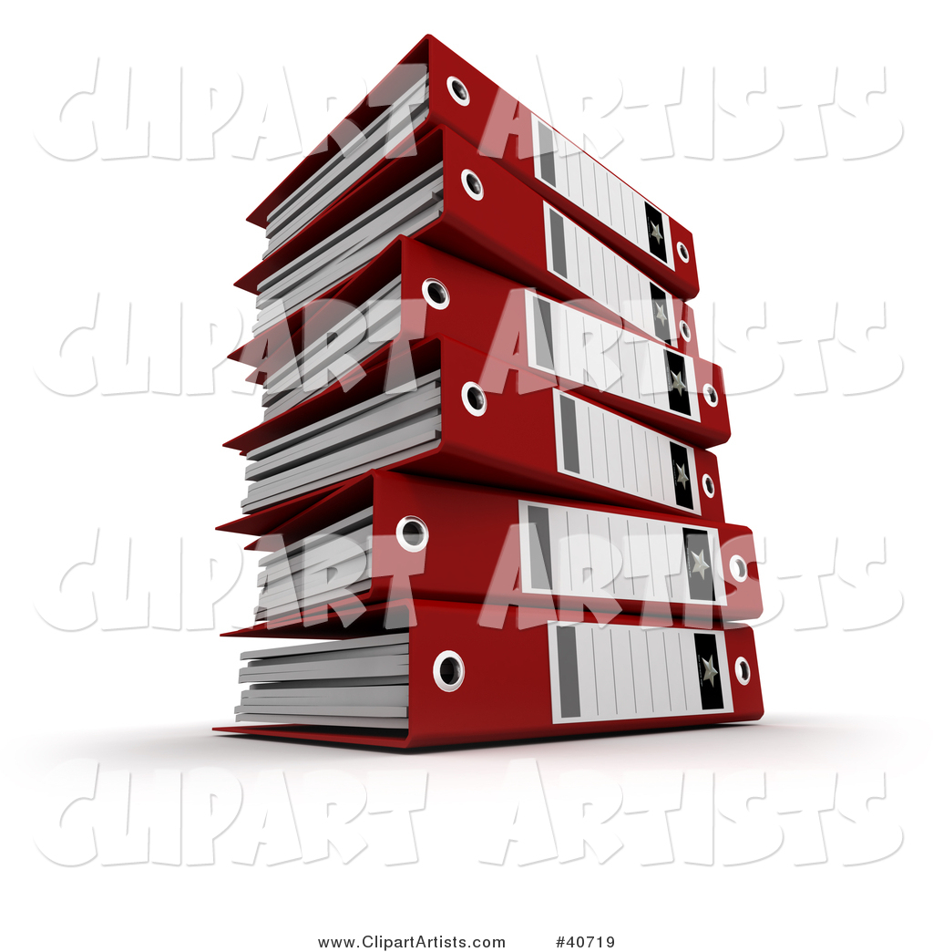 Stack of Red Ring Binders with Blank Labels