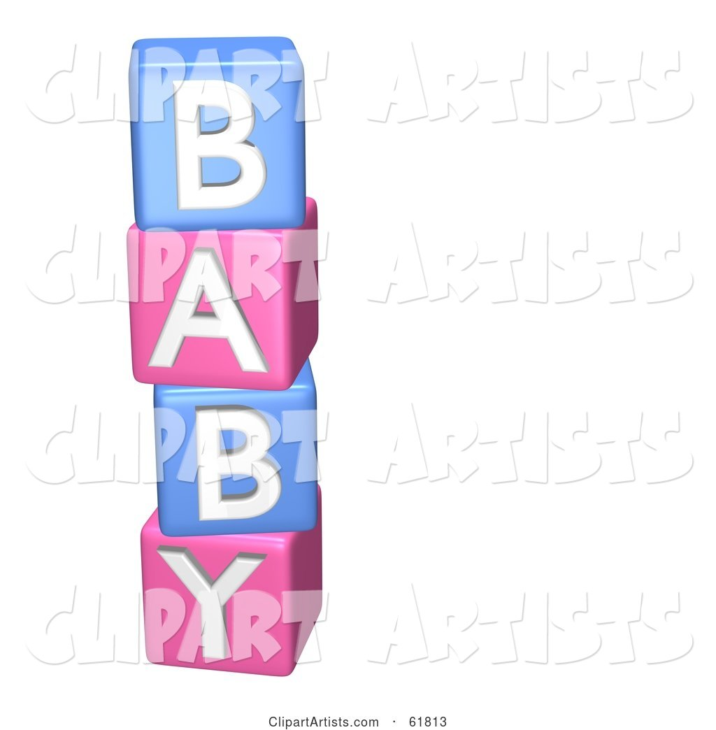 Stacked Pink and Blue Alphabet Blocks Spelling out BABY