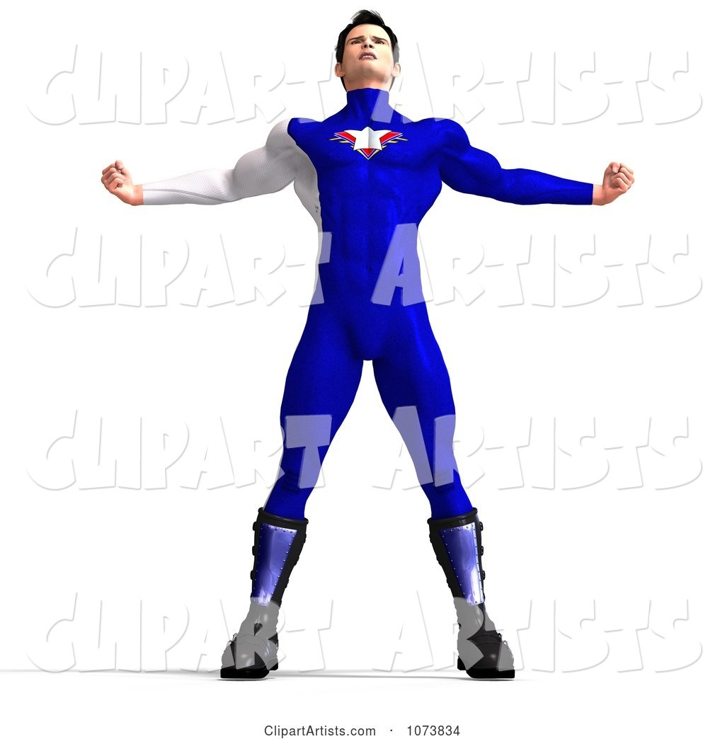 Superhero Man Flexing in a Blue Suit