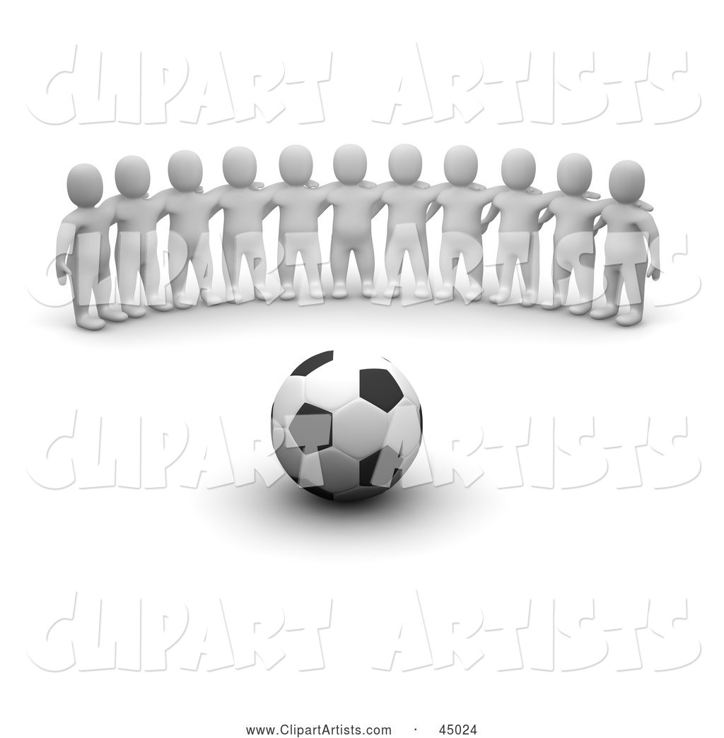 Team of Blanco Man Characters Facing a Soccer Ball
