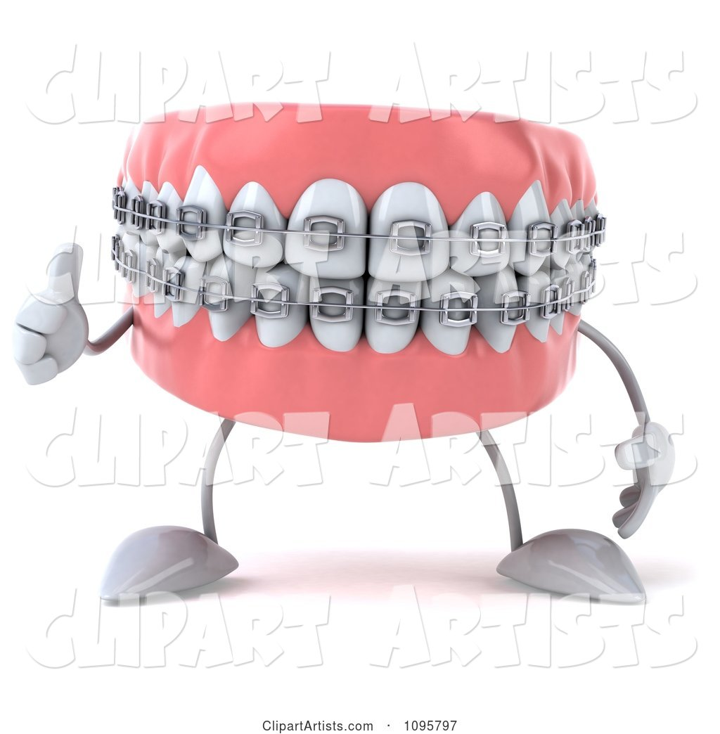Thumb up Metal Mouth Teeth Character with Braces 1
